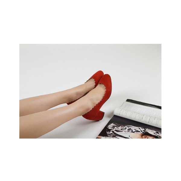 Red Chunky Heels Suede Round Toe Pumps for Female image 5
