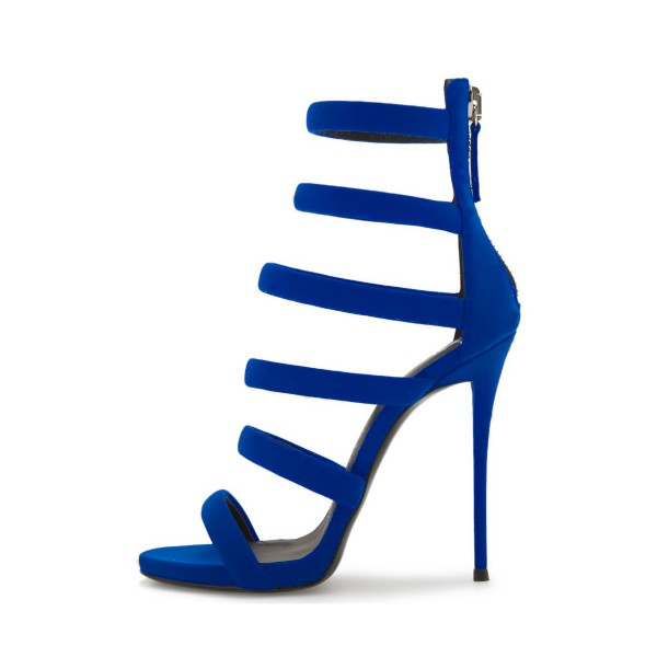 new styles 2278f 2931d ... Royal Blue Heels Suede Stilettos Gladiator Sandals for Ladies image 3  ...