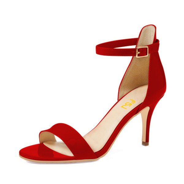 703fd3fad23 Red Ankle Strap Sandals 3 Inches Heels Stiletto Heels Shoes for Work ...
