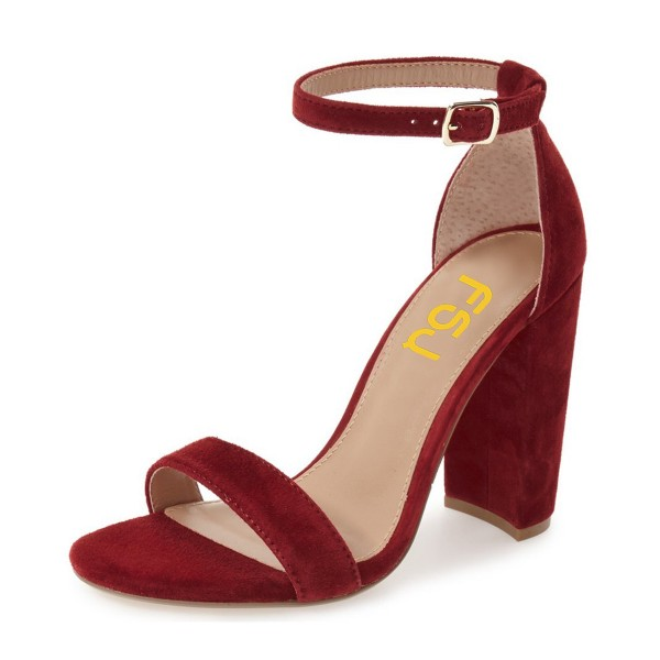 Women's Red Ankle Strap Sandals Suede Open Toe Chunky Heels Pumps image 1