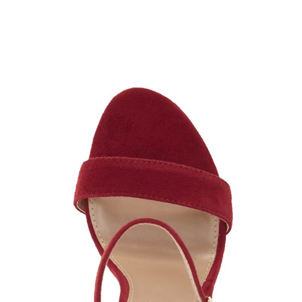 Women's Red Ankle Strap Sandals Suede Open Toe Chunky Heels Pumps image 3