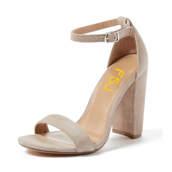 Women's Taupe Chunky Heels Open Toe Ankle Strap Sandals image 1
