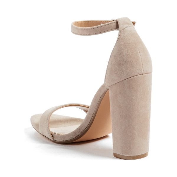 Women's Taupe Chunky Heels Open Toe Ankle Strap Sandals image 3