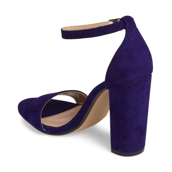 Women's Violet Open Toe Chunky Heel Ankle Strap Sandals  image 2