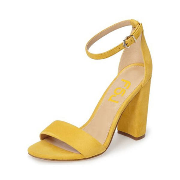 Women's Yellow Formal Shoes Open Toe Chunky Heels Ankle Strap Sandals image 1