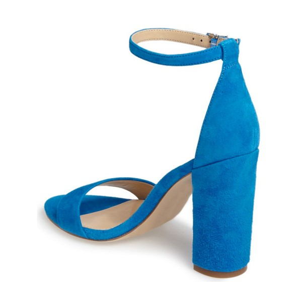 Cobalt Blue Shoes Ankle Strap Chunky Heel Office Sandals by FSJ image 2