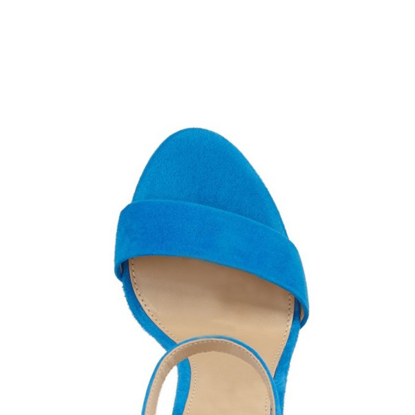 Cobalt Blue Shoes Ankle Strap Chunky Heel Office Sandals by FSJ image 3