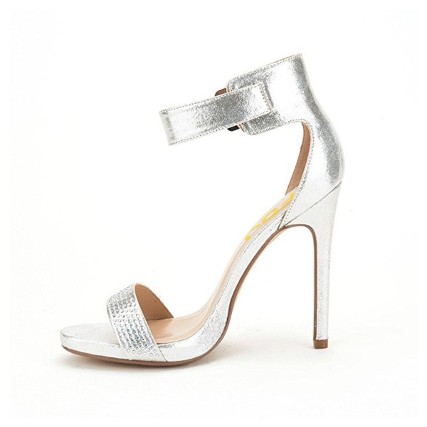 Silver Rhinestone Ankle Strap Sandals Stiletto Heel Wedding Sandals image 2