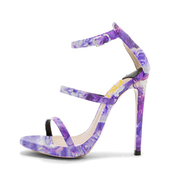 Lavender Floral Heels Open Toe Stiletto Heels Sandals by FSJ image 2