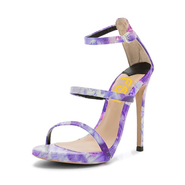 Lavender Floral Heels Open Toe Stiletto Heels Sandals by FSJ image 1