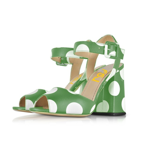 Green and White Block Heel Sandals Polka Dots Slingback Sandals image 1