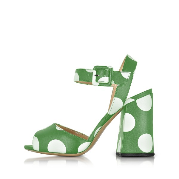 Green and White Block Heel Sandals Polka Dots Slingback Sandals image 2