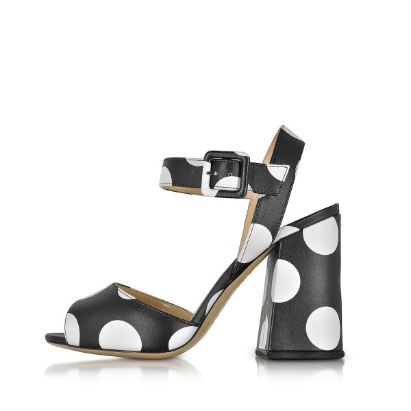 Women's Black and White Polka Dots Chunky Heel Sandals  image 2