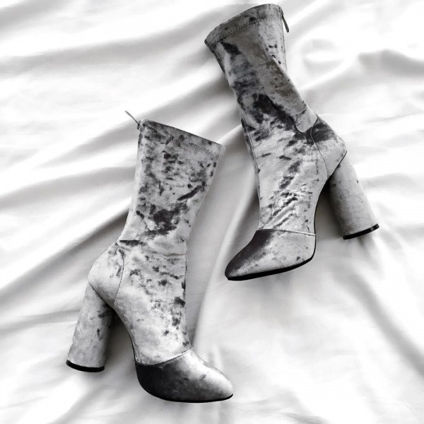 Grey Velvet Boots Closed Toe Cylindrical Heel Fashion Mid Calf Boots image 1