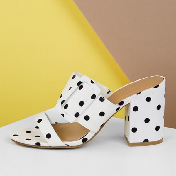 White and Black Polka Dots Buckles Chunky Heel Mule Sandals image 1