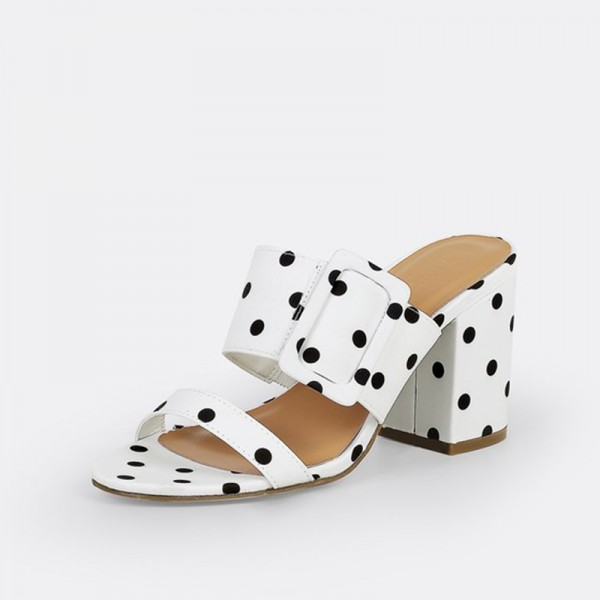 White and Black Polka Dots Buckles Chunky Heel Mule Sandals image 2