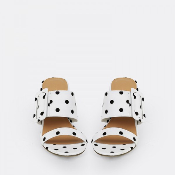 White and Black Polka Dots Buckles Chunky Heel Mule Sandals image 3