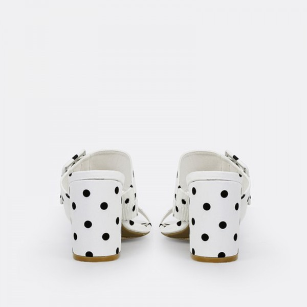 White and Black Polka Dots Buckles Chunky Heel Mule Sandals image 4
