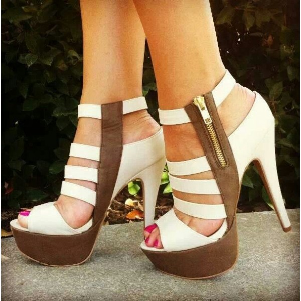 White and Brown Platform Heels Open Toe Chunky Heel Sandals Full Size image 1