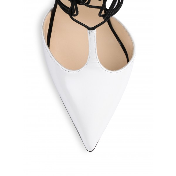 White and Khaki Leopard Print Heels T Strap Strappy Pumps image 3