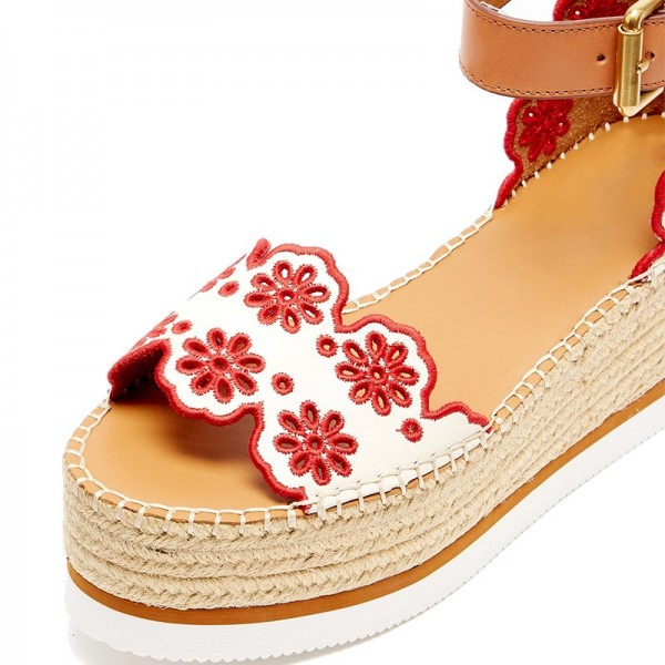 White and Red Embroidered Ankle Strap Platform Sandals image 2