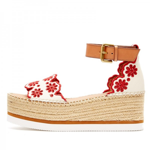White and Red Embroidered Ankle Strap Platform Sandals image 1