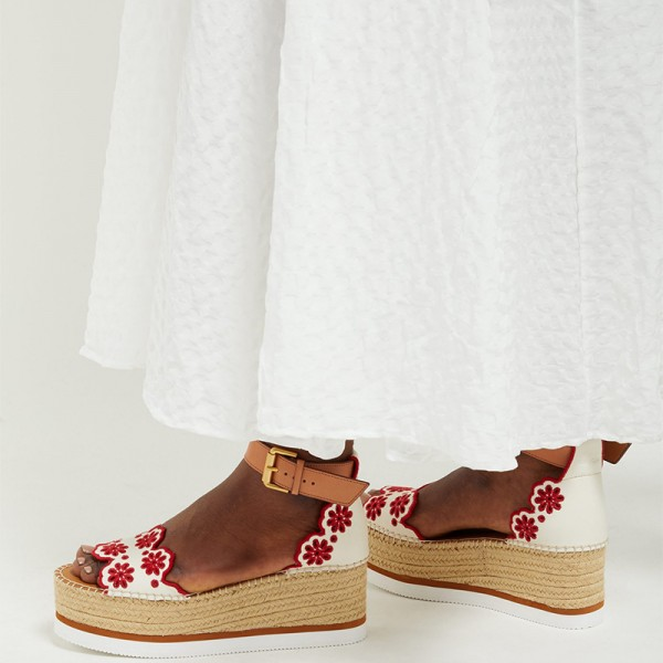 White and Red Embroidered Ankle Strap Platform Sandals image 3