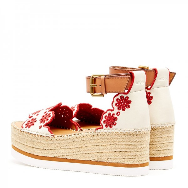 White and Red Embroidered Ankle Strap Platform Sandals image 4