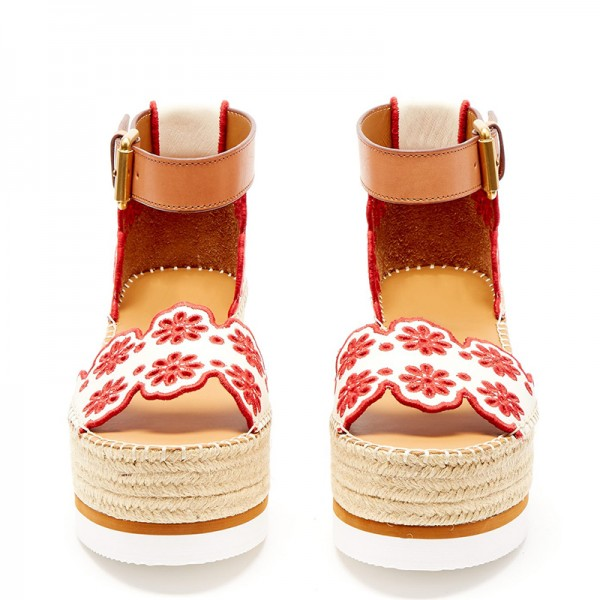 White and Red Embroidered Ankle Strap Platform Sandals image 5