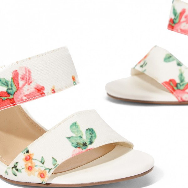 White Floral Heel Stiletto Heel Ankle Strap Sandals image 3