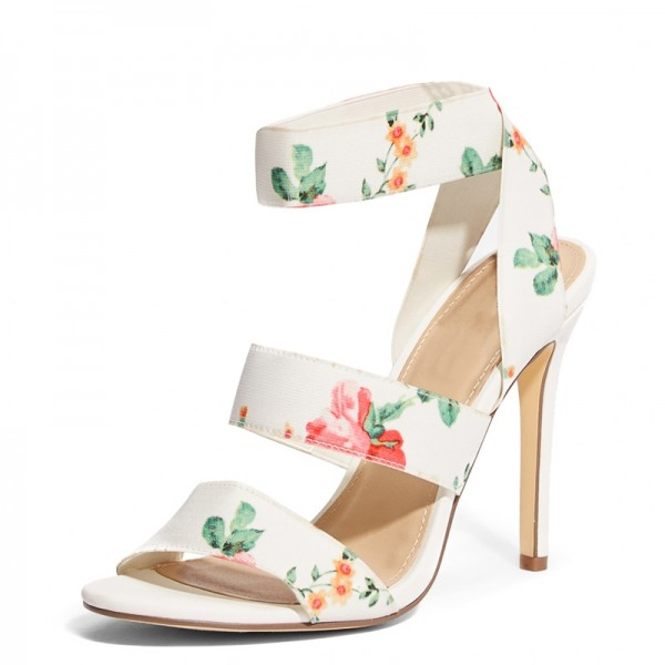 White Floral Heel Stiletto Heel Ankle Strap Sandals image 1