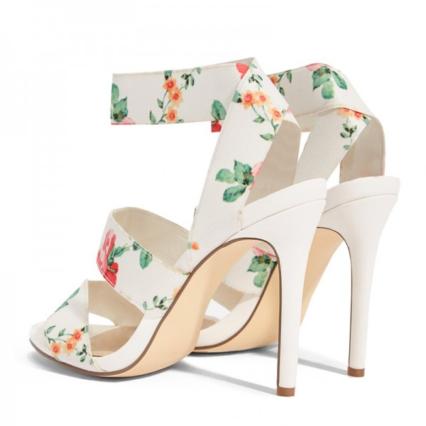 White Floral Heel Stiletto Heel Ankle Strap Sandals image 4