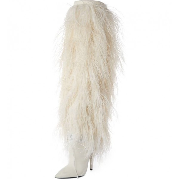 White Fur Boots Pointy Toe Cone Heels