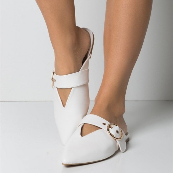 White Pointy Toe Flats Mule Sandals Comfortable Flats with Buckle image 1
