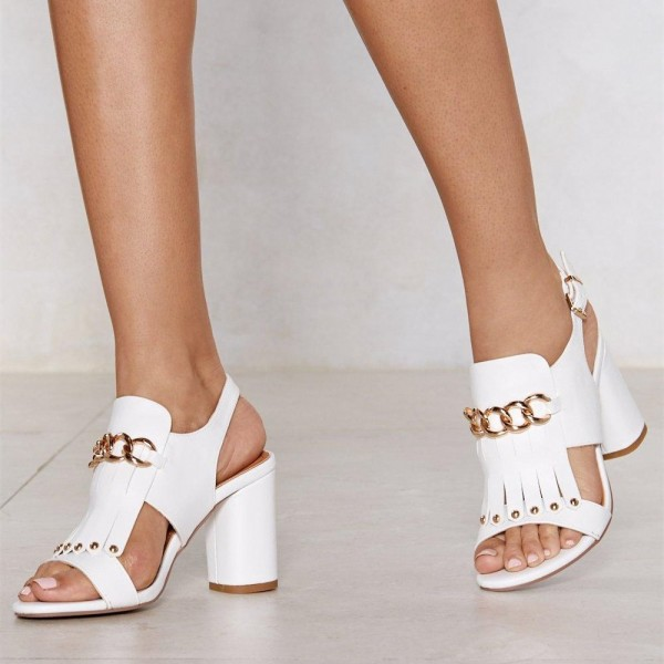 White Studs Chains Chunky Heel Slingback Shoes Sandals image 4