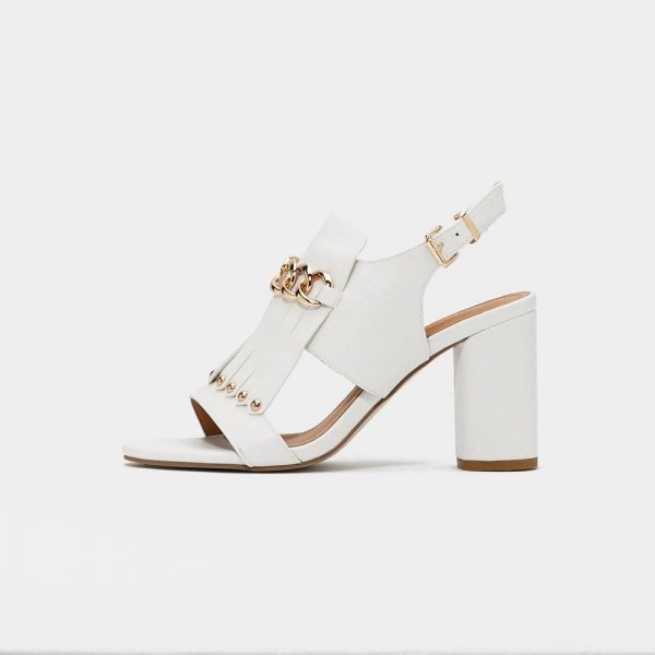White Studs Chains Chunky Heel Slingback Shoes Sandals image 2