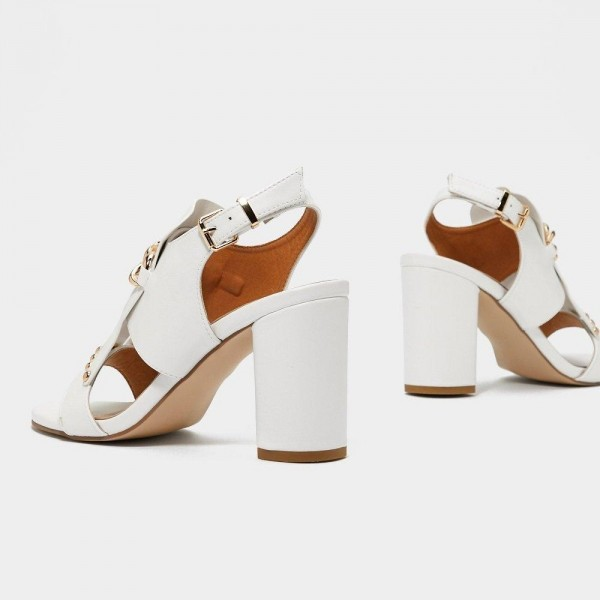 White Studs Chains Chunky Heel Slingback Shoes Sandals image 3