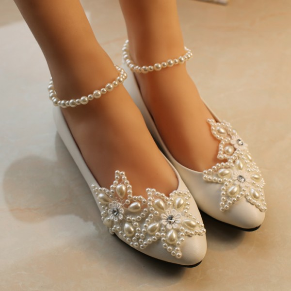 52b80b116be6 White Flat Wedding Shoes Pearls Ankle Strap Bridal Shoes for Wedding ...