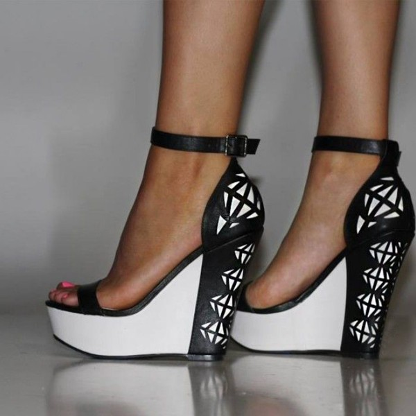 Black and White Wedge Sandals Grid Printed Ankle Strap Sandals image 1