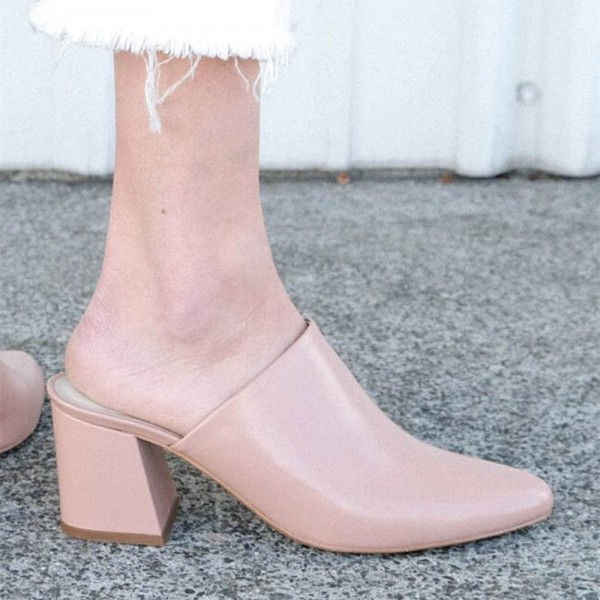 Women's Blush Block Heel Sandals Almond Toe Mules image 2