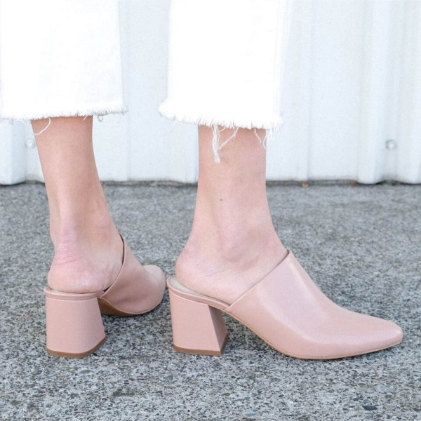 Women's Blush Block Heel Sandals Almond Toe Mules image 3