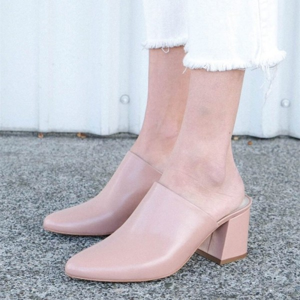 Women's Blush Block Heel Sandals Almond Toe Mules image 1
