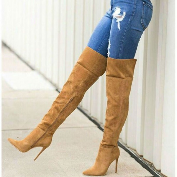 Tan Thigh High Heel Boots Pointy Toe Suede Stiletto Heel Long Boots image 1