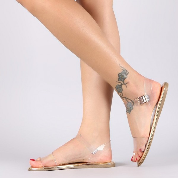 Clear and Gold Open Toe PVC Flat Sandals image 1