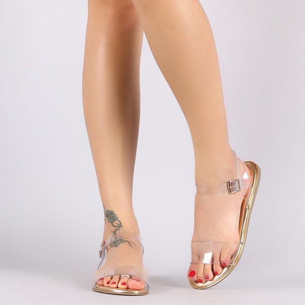 Clear and Gold Open Toe PVC Flat Sandals image 2