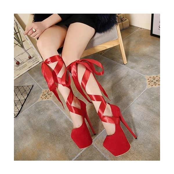 Red Stripper Heels Suede Lace up Platform Pumps High Heel Shoes image 5