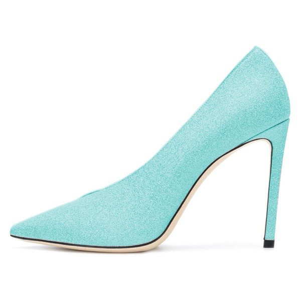 Women's Cyan Pointy Toe Stiletto Heels Glitter Shoes image 3