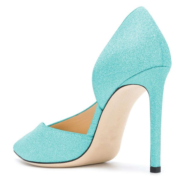Women's Cyan Pointy Toe Stiletto Heels Glitter Shoes image 2