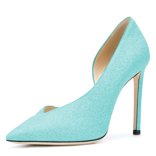 Women's Cyan Pointy Toe Stiletto Heels Glitter Shoes image 1