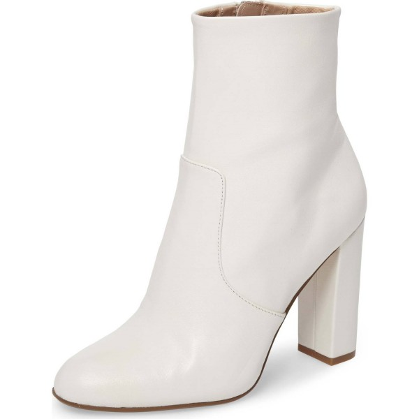 ecd54156976 Women's Fashion White Chunky heel Boots Classical Zip Ankle Boots